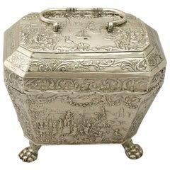1890s Antique Dutch Silver Tea Caddy