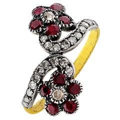 1890s Antique Flower Diamond Ruby Ring