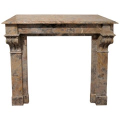 1890s Antique French Marble Mantel with Brown and Gray Veins