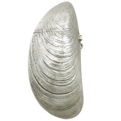 1890s Antique French Silver Mussel Vesta Case