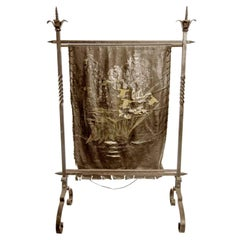 1890s Antique French Wrought Iron and Painted Floral Leather Fire Screen