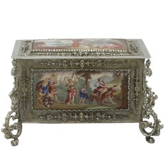 1890s Antique German Silver and Enamel Box