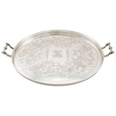 1890s Antique German Silver Galleried Tea Tray