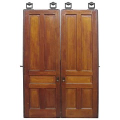 1890s Antique Pair of Five Panel Pocket Doors