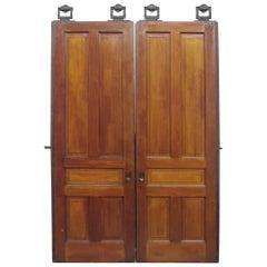 1890s Antique Pair of 5 Pane Pocket Double Doors