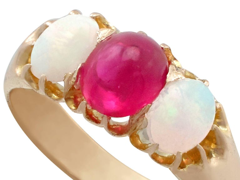 1890s Antique Ruby and Opal Yellow Gold Trilogy Ring In Excellent Condition For Sale In Jesmond, Newcastle Upon Tyne