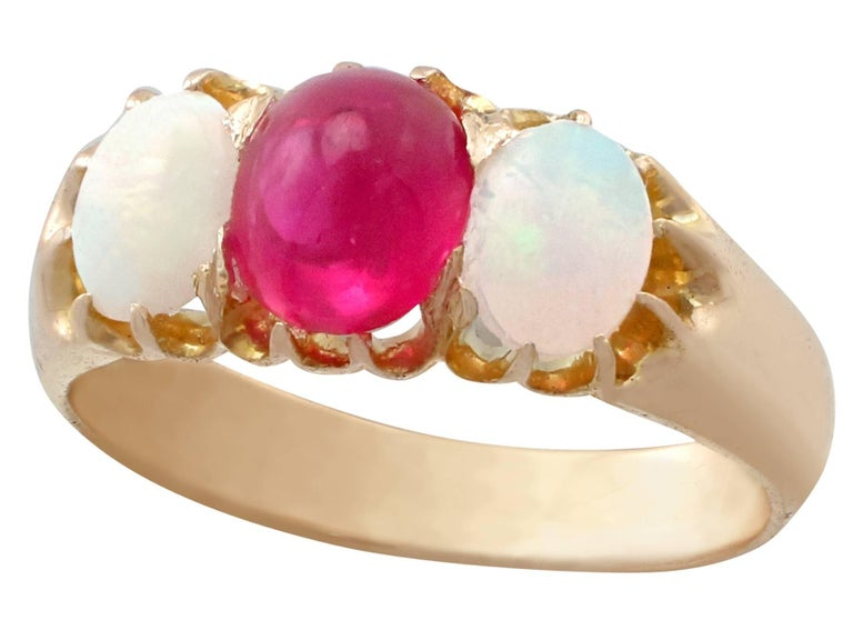 Women's or Men's 1890s Antique Ruby and Opal Yellow Gold Trilogy Ring For Sale