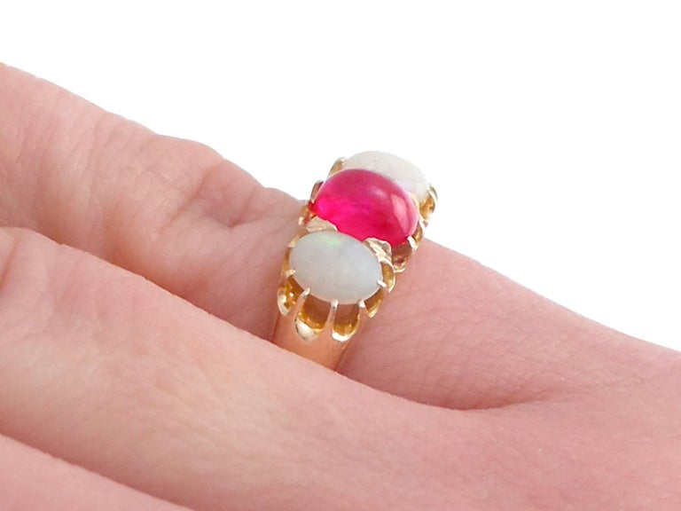1890s Antique Ruby and Opal Yellow Gold Trilogy Ring For Sale 4