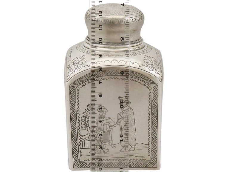 1890s Antique Russian Silver Tea Caddy For Sale 7