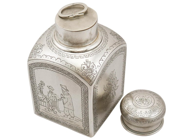 1890s Antique Russian Silver Tea Caddy In Excellent Condition For Sale In Jesmond, Newcastle Upon Tyne