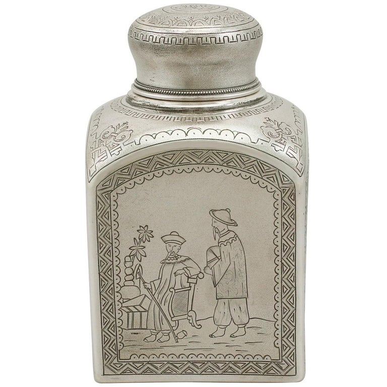 1890s Antique Russian Silver Tea Caddy For Sale