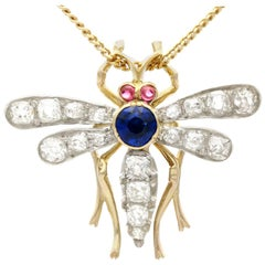 1890s Antique Sapphire Diamond and Ruby Yellow Gold Dragonfly Pendant / Brooch