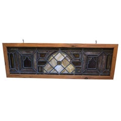 1890s Antique Stained Glass Window with a Center Jewel in New Frame