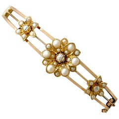 1890s Antique Victorian Diamond and Pearl Yellow Gold Bangle