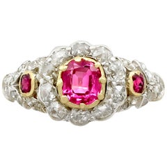 1890s Antique Victorian Synthetic Ruby and Diamond Yellow Gold Cocktail Ring