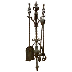 1890s Antique Wrought Iron Fire Place Tool Set with Black Finish