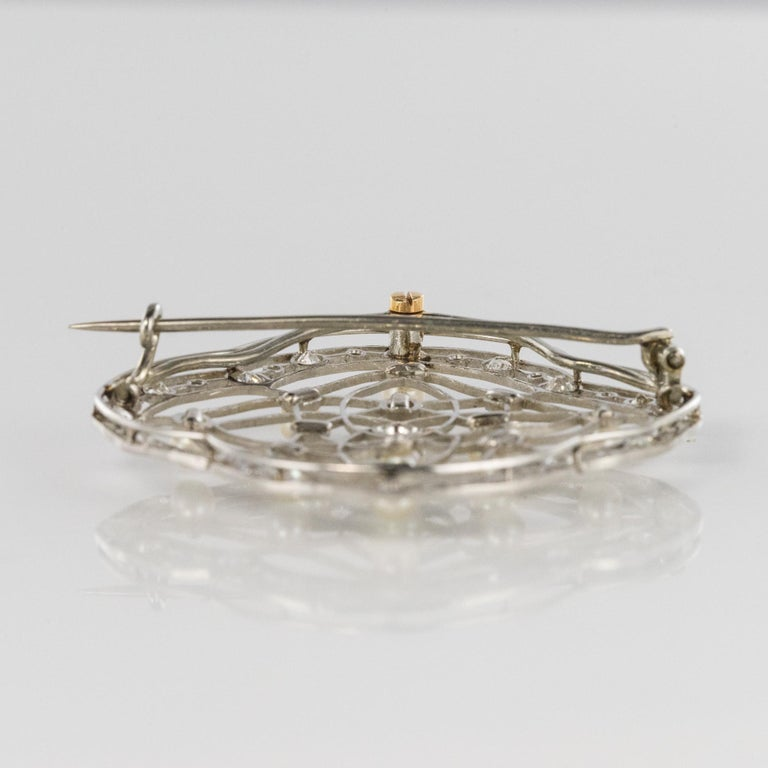 1890s Belle Époque Natural Pearl Diamonds 18 Karat Gold Platinum Brooch For Sale 8