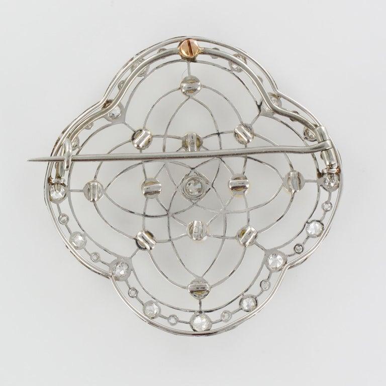 1890s Belle Époque Natural Pearl Diamonds 18 Karat Gold Platinum Brooch For Sale 11