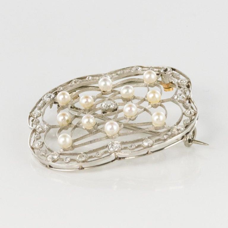 1890s Belle Époque Natural Pearl Diamonds 18 Karat Gold Platinum Brooch For Sale 1
