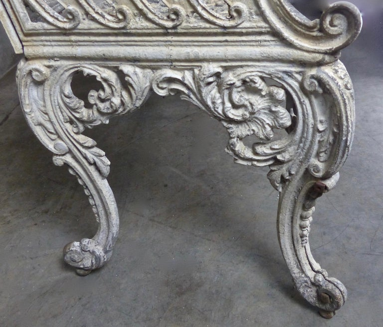 1890s Cast Iron White House American Garden Benches Pair