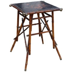 1890s Chinese Bamboo Side Table with Black Lacquer Top and Bronze Fittings