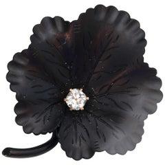 1890s Diamond and Onyx Clover Leaf Pin