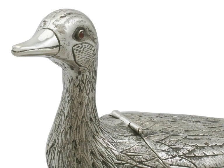 1890s Dutch Silver 'Duck' Sugar Box For Sale 3