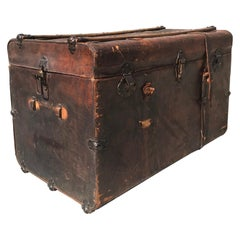 1890s Elegantly Distressed Antique Steamer Travel Trunk Aged Leather Wood & Iron