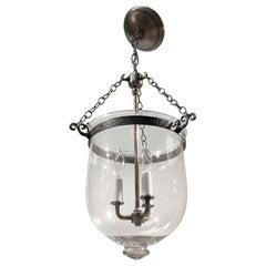 1890s English Clear Bell Jar Pendant Lantern, Originally Whale Oil Light