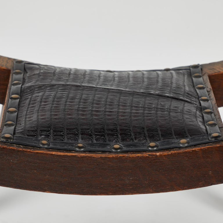19th Century English Foot Stool with Upholstered Black Leather and Studded Trim In Good Condition For Sale In Los Angeles, CA
