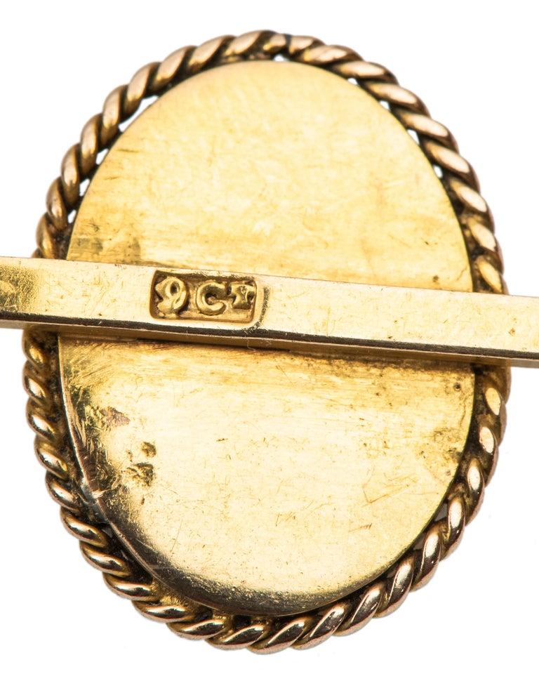 Rose Cut 1890s English Victorian Bull's Eye Agate Diamond Lapel Pin For Sale