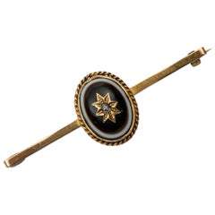 1890s English Victorian Bull's Eye Agate Diamond Lapel Pin