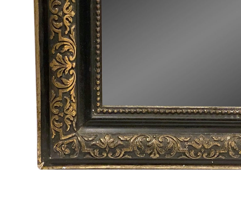 1890s French Cherub Motif Mirror Gesso and Hand Carved Gilt and Black Wood For Sale 3