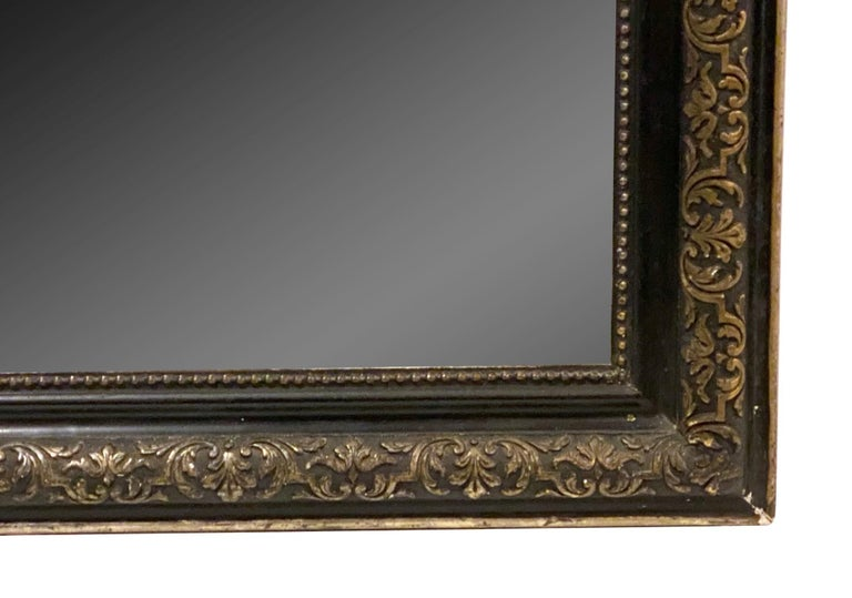 1890s French Cherub Motif Mirror Gesso and Hand Carved Gilt and Black Wood For Sale 4