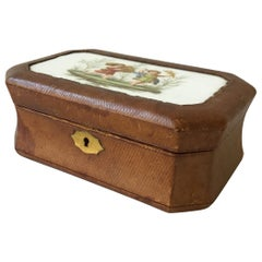 1890s French Leather Box with Ceramic Plaque of Children
