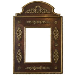 1890s French Neoclassical Wood and Bronze Picture Frame