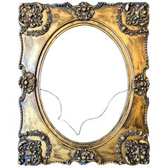 1890s French Style Carved Gold Painted Wood Frame with Oval Opening