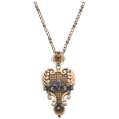 1890s Handmade Victorian Sapphire and Pearl Heart Shaped Gold Locket with Chain