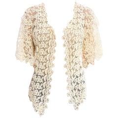 Edwardian Off White Cotton Lace Short Sleeve Jacket Top