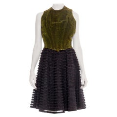 MORPHEW COLLECTION Black & Green Silk Cotton Velvet Dress With Ruffled Tulle Sk