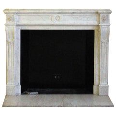1890s NYC Waldorf Astoria Hotel French Regency White Carrara Marble Mantel