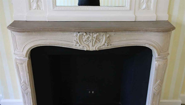 1890s NYC Waldorf Astoria Hotel Louis XV French Carved Limestone Mantel For Sale 1