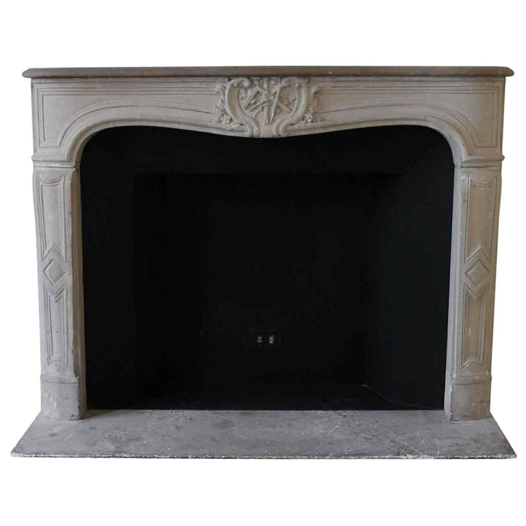 1890s NYC Waldorf Astoria Hotel Louis XV French Carved Limestone Mantel For Sale