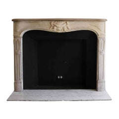 1890s NYC Waldorf Astoria Hotel Louis XV Hand Carved French Limestone Mantel