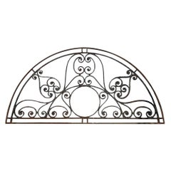1890s Ornate Wrought Iron Arched Door Transom with Hand Forged Curls