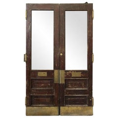 1890s Pair Antique Wood and Glass Swinging Doors Brownstone