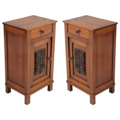 1890s Pair of Art Nouveau Tyrolean Nightstands in Solid Pine, carved decorated