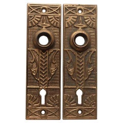 1890s Pair of Brass Eastlake Aesthetic Style Passage Door Back Plates
