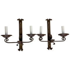 1890s Pair of Handwrought Iron 2-Arm Wall Sconces from France with Scrollwork