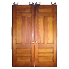 1890s Pine 5 Recessed Panel Double Pine Large Scale Pocket Doors